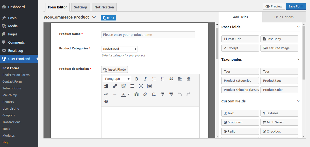 WP User Frontend Product upload form
